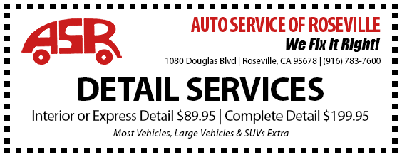 Automotive Service of Roseville Specials - Detail Services