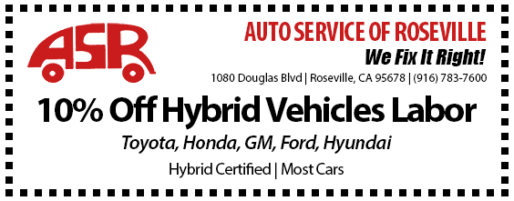 Automotive Service of Roseville Specials - Hybrid 10% Off Labor