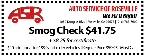 Automotive Service of Roseville Specials - Smog Check